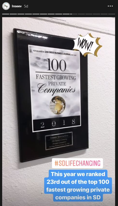 Inseev Interactive named one of the fastest growing companies in San Diego.