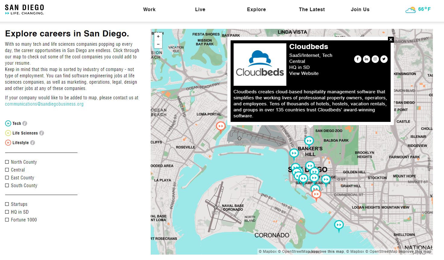 San Diego: Life. Changing. Map of Companies in San Diego
